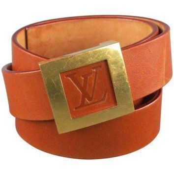 PEAPYD9 LOUIS VUITTON Size 36 LV Monogram Embossed Tan Leather Gold Square Buckle Belt
