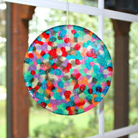 Unique Mosaic Suncatcher - Over The Rainbow Hand Crafted Large 6 inch Disk all ready for display by Mei Faith