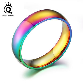 ORSA Charming Colorful Titanium Steel Finger Rings New Romantic Engagement Wedding Promise Rings for Women Men OTR93
