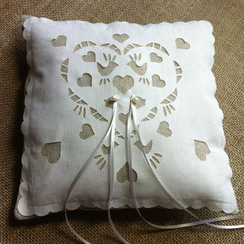 Ring bearer cushion in linen and laser cut love birds, rustic wedding