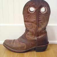 Vintage Distressed Cowboy Boots / Western Boots / Mens Leather Boots / 7.5