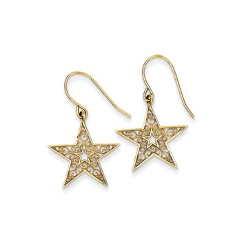 18mm Filigree Star Dangle Earrings in 14k Yellow Gold