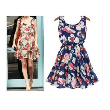 Fashion Women New Exquisite Sleeveless Round Neck Florals Print Pleated Dress Saias Femininas Summer Clothing