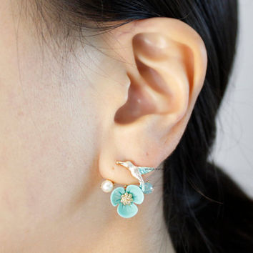 Front and Back Humming Bird and Flower Ear jacket,Wrap around dangle cuff earrings,E0585S