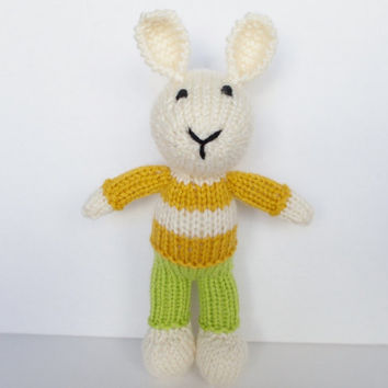 """Little Easter Bunny Stuffed Animal, Hand Knit Plush Toy, Soft Knit Animal, Ready To Ship, New Baby Gift Girl or Boy, Child Nursery Toy 9"""""""