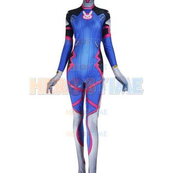 Custom Made Lycra Spandex 3d Print D.va Cosplay Halloween Costume Zentai Catsuit For Girls/female/women/lady Free Shipping