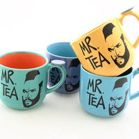 Mr Tea teacups, set of four, multicolored with thumb stop, one of a kind