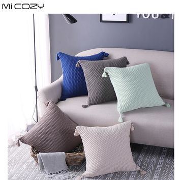 Micozy Cotton Knitted Decorative Revesable Knitting Pattern Beauty Pillowcase Square Pillow Cover