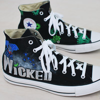 Wicked Converse - Hand Painted Black Canvas Chuck Taylors