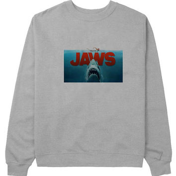 jaws sweater Gray Sweatshirt Crewneck Men or Women for Unisex Size with variant colour