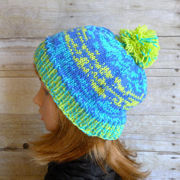 Gumdrop Beanie, Pom Pom Beanie in Shades of Turquoise, Lime and Royal Blue, Green and Blue Ombre Beanie, Hand Knit Hat, Snowboard Beanie