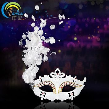 DKF4S Ball Princess Masquerade Female Party Mask Pearl Flower Mask White