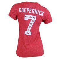 Fanzz Sports Apparel,San Francisco 49ers NFL Colin Kaepernick #7 Womens Name & Number Ringer V-Neck T-Shirt (Red) NFL, NBA, MLB Apparel, NFL, MLB, NBA Jerseys and Merchandise, NHL Shop | Fanzz