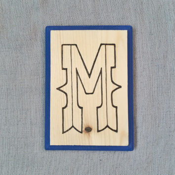 Wood Wall Letter M, Engraved Initial, Handpainted Cobalt, Woodburning, Decorative Wood Wall Art, Initial Monogram Decor, Nursery Decor