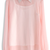 Sassy Sheer Crepe Top in Pink Pink S/M