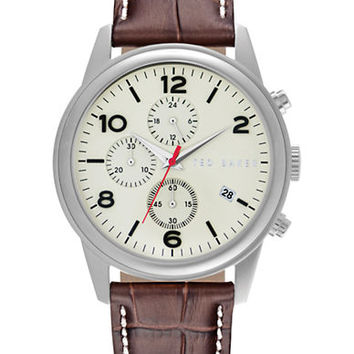 Ted Baker Mens Stainless Steel Chronograph Watch with Brown Leather Strap