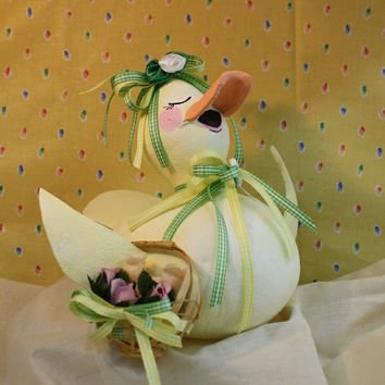 hand painted gourd art singing duck with basket of roses