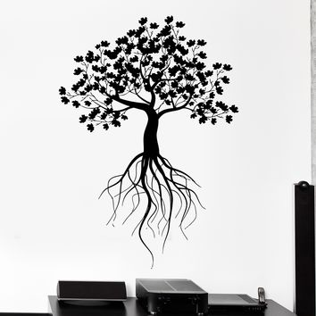 Wall Vinyl Decal Tree With Roots Nature Home Interior Decor Unique Gift z4130