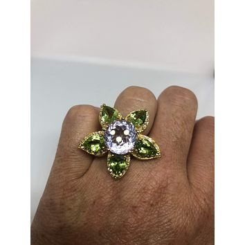 Vintage Handmade Genuine Green Peridot and Amythist Golden 925 Sterling Silver Gothic Star  Ring