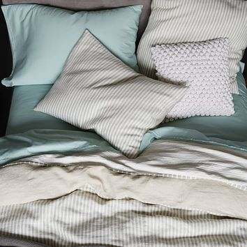 Striped Belgian Linen Duvet Cover + Shams - Pale Harbor