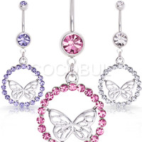 316L Surgical Steel Butterfly with a Gem Halo Dangle Belly Button Navel Ring