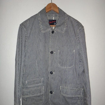 15% OFF Sale Rare Vintage GAP Workwear Denime Jeans Blue Stripe Selvedge Jacket Retro Button Down Men Casual Coat Bikers RARE
