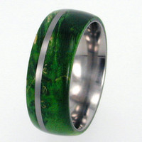 Waterproof wood Titanium Ring with Box Elder Burl Wood and Titanium Pinstripe, Ring Armor Included