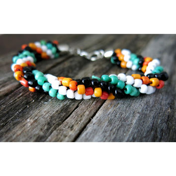 Lucky You - Kumihimo Beaded Rope Bracelet - Black White Green Orange