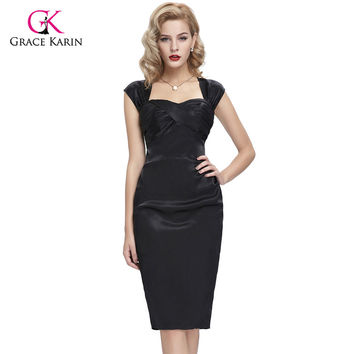 Grace Karin Black Blue Knee length Cocktail Dresses Cap Sleeve Satin Hips-Wrapped Hollowed Short Mother of the Bride Dress72