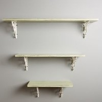 Mango Wood Shelf by Anthropologie in Moss Size: