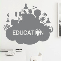 Wall Decor Vinyl Sticker Room Decal Education Science Cloud Globe Glob Chemistry Biology School Kid Child Idea Information Study (s162)