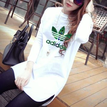 """Adidas"" Women Simple Casual Peacock Letter Clover Print Long Sleeve T-shirt Irregular Bottoming Tops"
