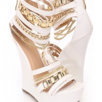 White Chain Strappy Platform Wedges Faux Leather