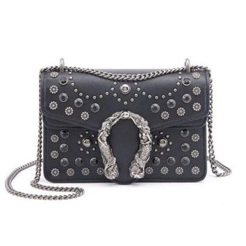 Kalete GUCCI Fashion Women New Retro Metal Chain Small Square Bag Rivet Bag Shoulder Bag Crossbody Satchel Shoulder Bag Black