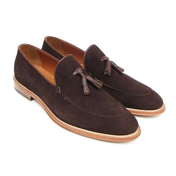 Paul Parkman Men's Tassel Loafer Brown Suede Shoes (Id#087)