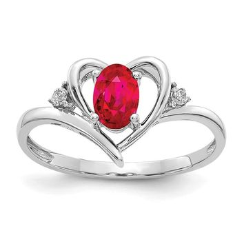 14k White Gold Genuine Oval Ruby & Diamond Heart Ring