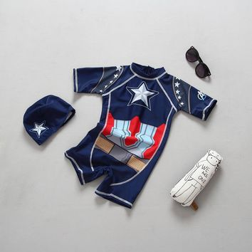 Baby Boys Swimsuit Captain America Iron Man Style Swimwear for Chilren Kids Bathing Suit Swimming Pool Clothes 2T 3-7 Years Old