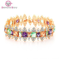 Teemi 2016 New Multi Colors CZ Stone Crystal Bracelets Bangles for Women Gift Champagne Gold Plated Bridal Wedding Party Jewelry
