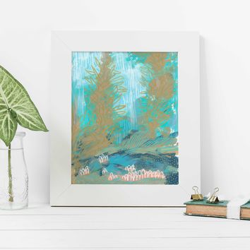 Modern Abstract Underwater Ocean Painting Wall Art Print or Canvas
