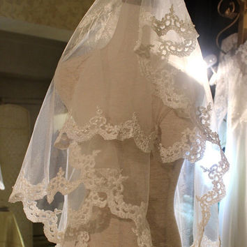 Ivory embroidered Alencon lace Bridal fingertip Length Veil Mantilla with Beaded Wedding hair accessories piece
