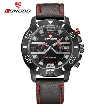 Fashion Sports Military Leather Movement Watch Date Calendar Men Waterproof Analog Wrist Watches