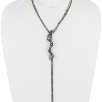 Pave Crystal Stone Metal Snake Multi Chain Necklace