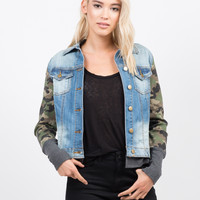 Camo Sleeved Denim Jacket
