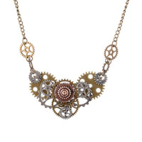 Steam Punk Antique Bronze Plated Necklace
