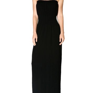 Strapless Maxi Dress With Smocked Waistline