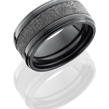 Zirconium wedding ring 10mm hand crafted  flat band with grooved edges and 5mm meteorite center