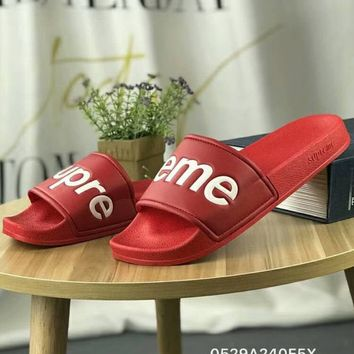 Supreme 2018 new tide brand fashion stylish slippers for men and women F-CSXY red