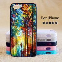 Painting iPhone  Case,water color paint boy girl tree Image printing iPhone 4 5 5s 4s Hard Plastic Rubber Case,cover for iphone 5C cases