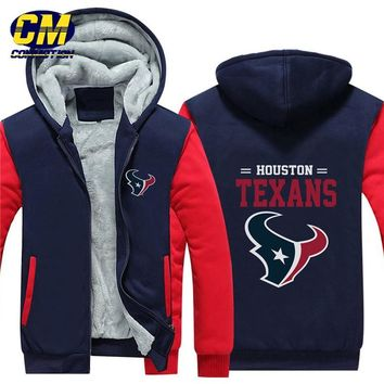 NFL American football winter thicken plus velvet zipper coat hooded sweatshirt casual jacket Houston Texans