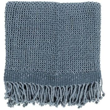 Harbor Denim Blue Cotton Throw Blanket